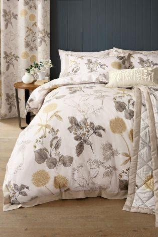 Cotton Sateen Wild Hedgerow Natural Bed Set Decor Bed Linen Sets