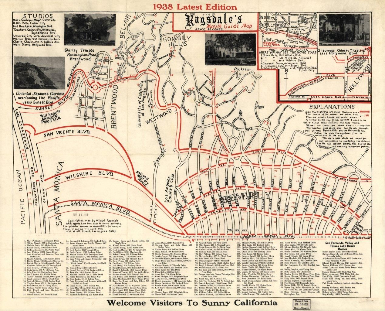1938 Map To Movie Stars Homes And Famous Surrounding Places