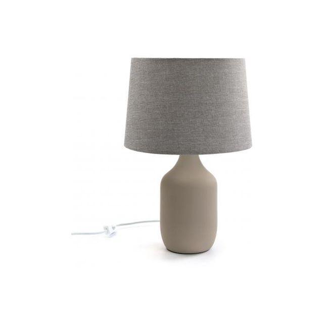 Lampe  poser en céramique taupe H 44cm MOLLY