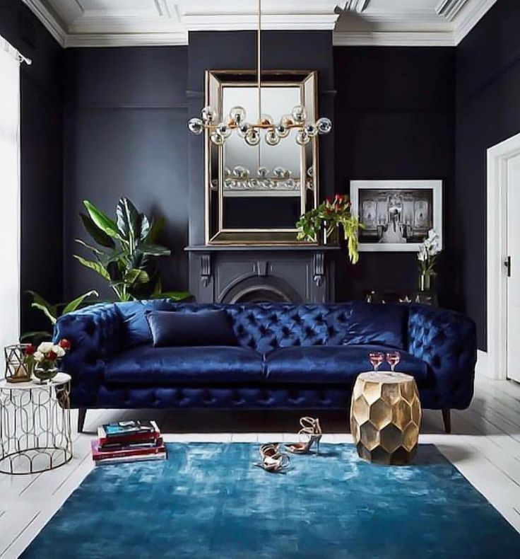 Living Room Accent Wall With Beadboard Sofa Wall: Dark Navy Walls And Blue Velvet Sofa
