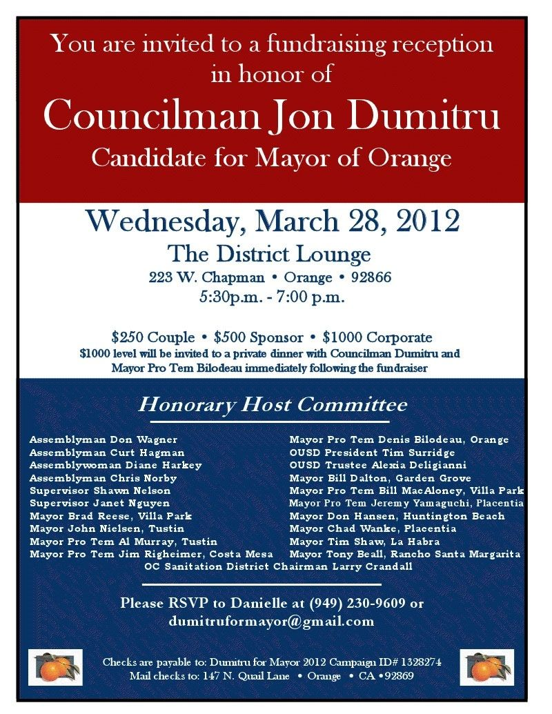 Political fundraiser invitations | AD-74: Mansoor Roars on ...
