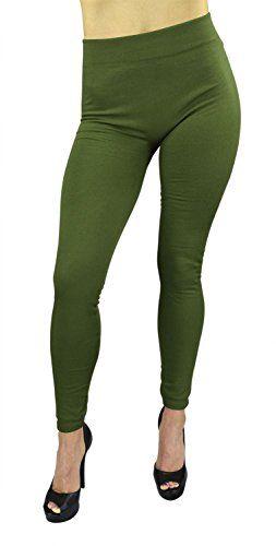dc54b8146d167 Belle Donne - Women's Fleece Lined Leggings (One Size) - Army Green Belle  Donne