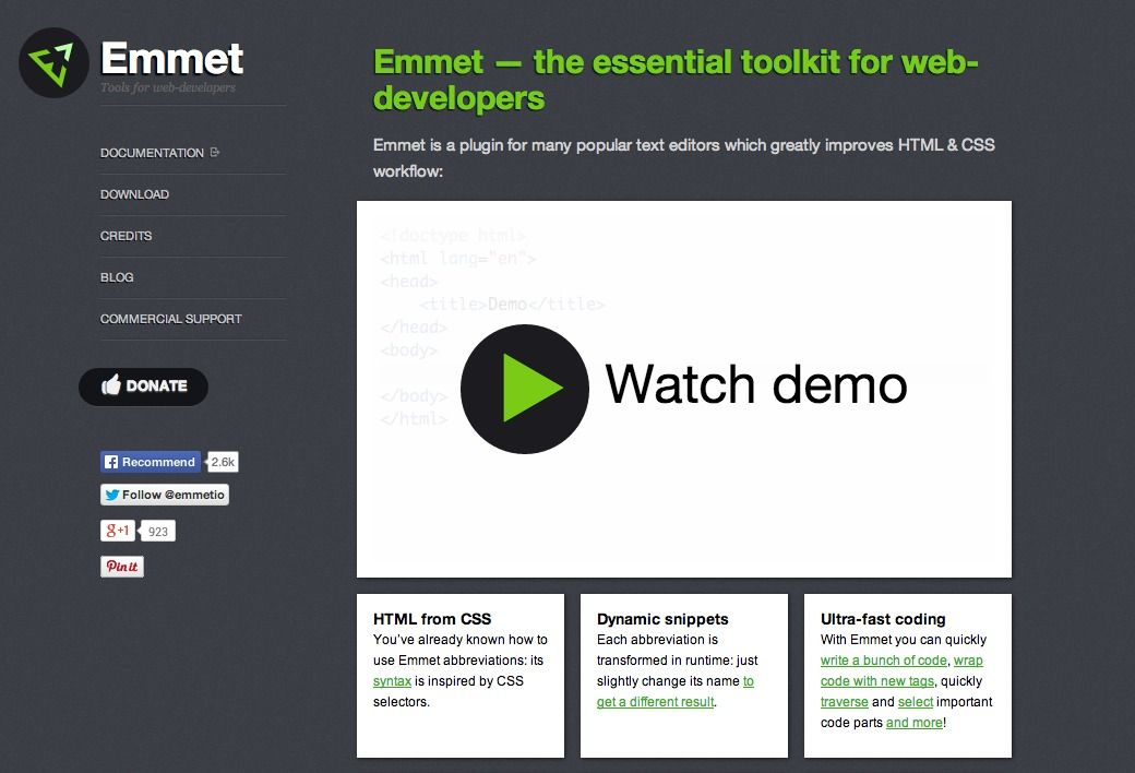 Emmet is a plugin for many popular text editors which greatly improves HTML & CSS workflow