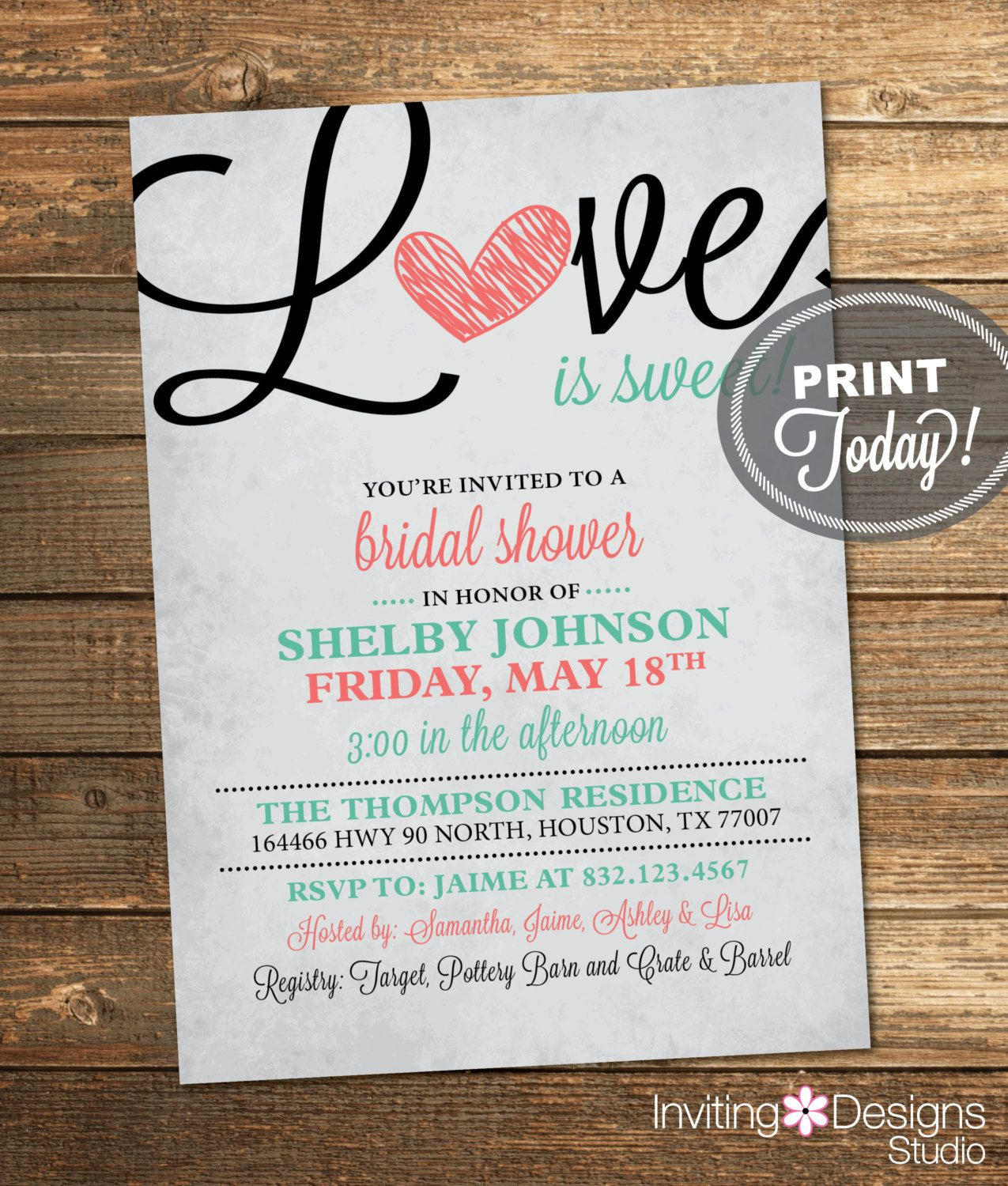When Should Wedding Invitations Be Ordered: Bridal Shower Invitation, Love Is Sweet, Heart, Black