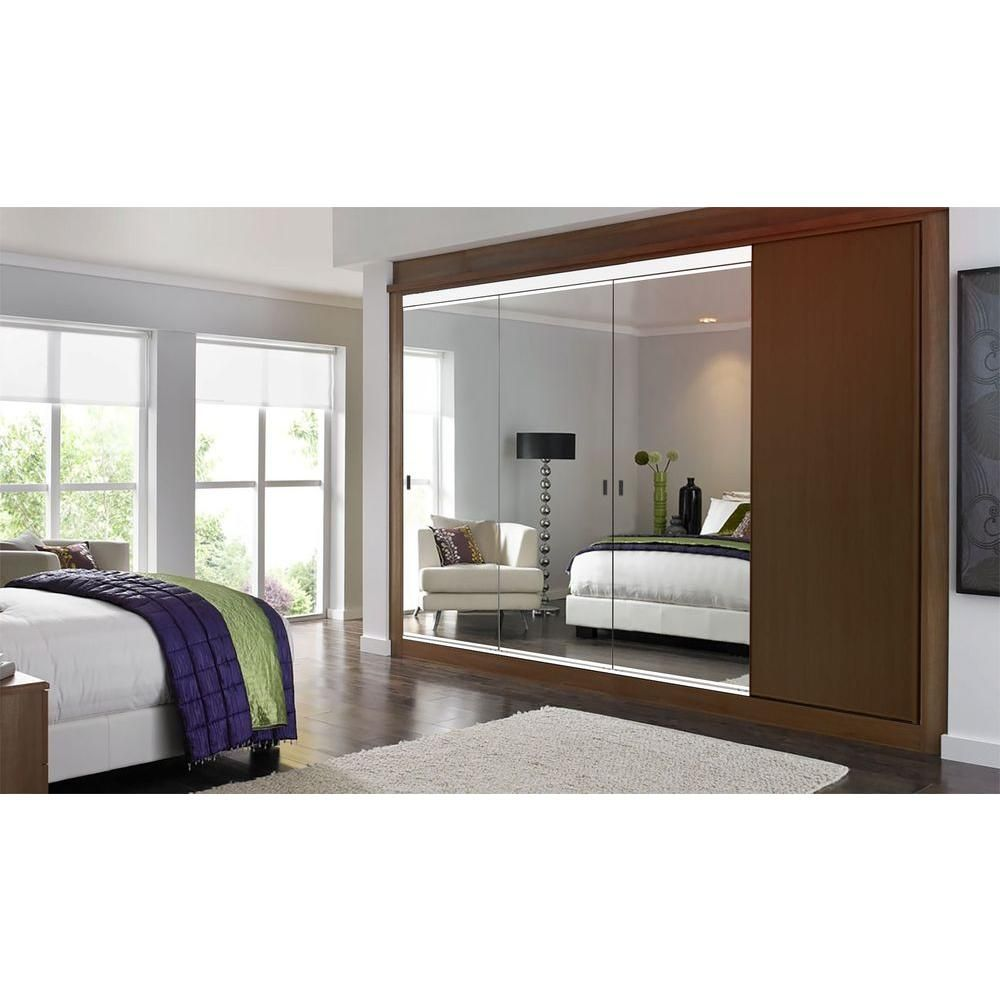 Impact Plus 108 In X 80 In Beveled Edge Backed Mirror Aluminum Frame Interior Closet Sliding Door With White Trim Sb3 10880w The Home Depot Sliding Mirror Closet Doors Sliding Closet Doors