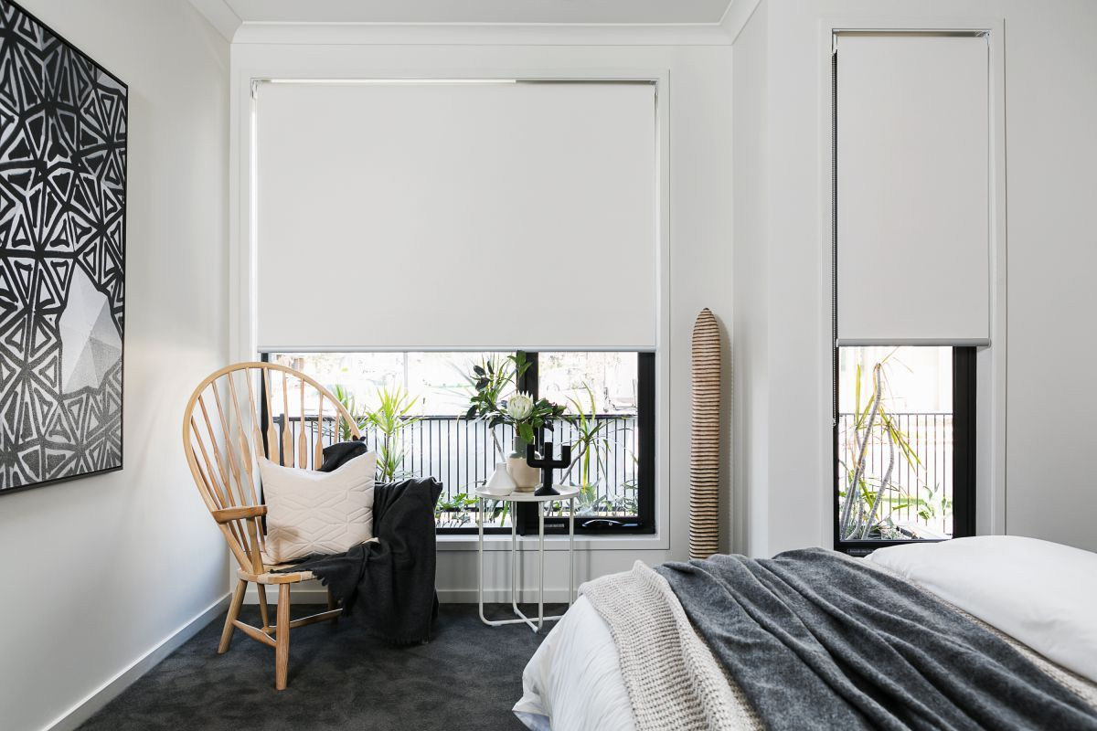 Interior White Roller Blinds Bedroom For Black Frame Window