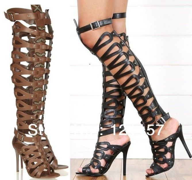 Leather Back Long Zipper Cut-Outs Butterfly High Heel Over Knee ...
