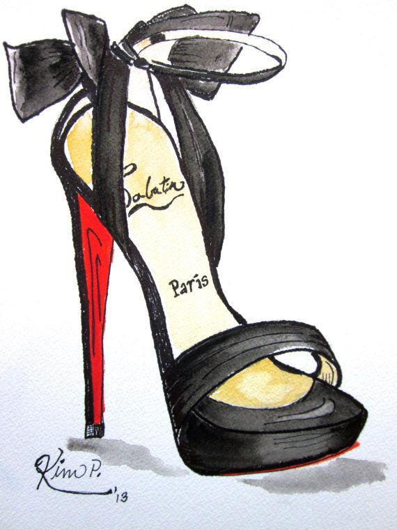 a7d3008bc30 Fashion illustration: louboutin inspired shoe sketch red peep toe ...
