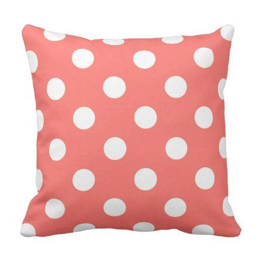 Coral Peach And White Polka Dot Decorative Throw Pillow Zazzle Interesting Peach Decorative Throw Pillows