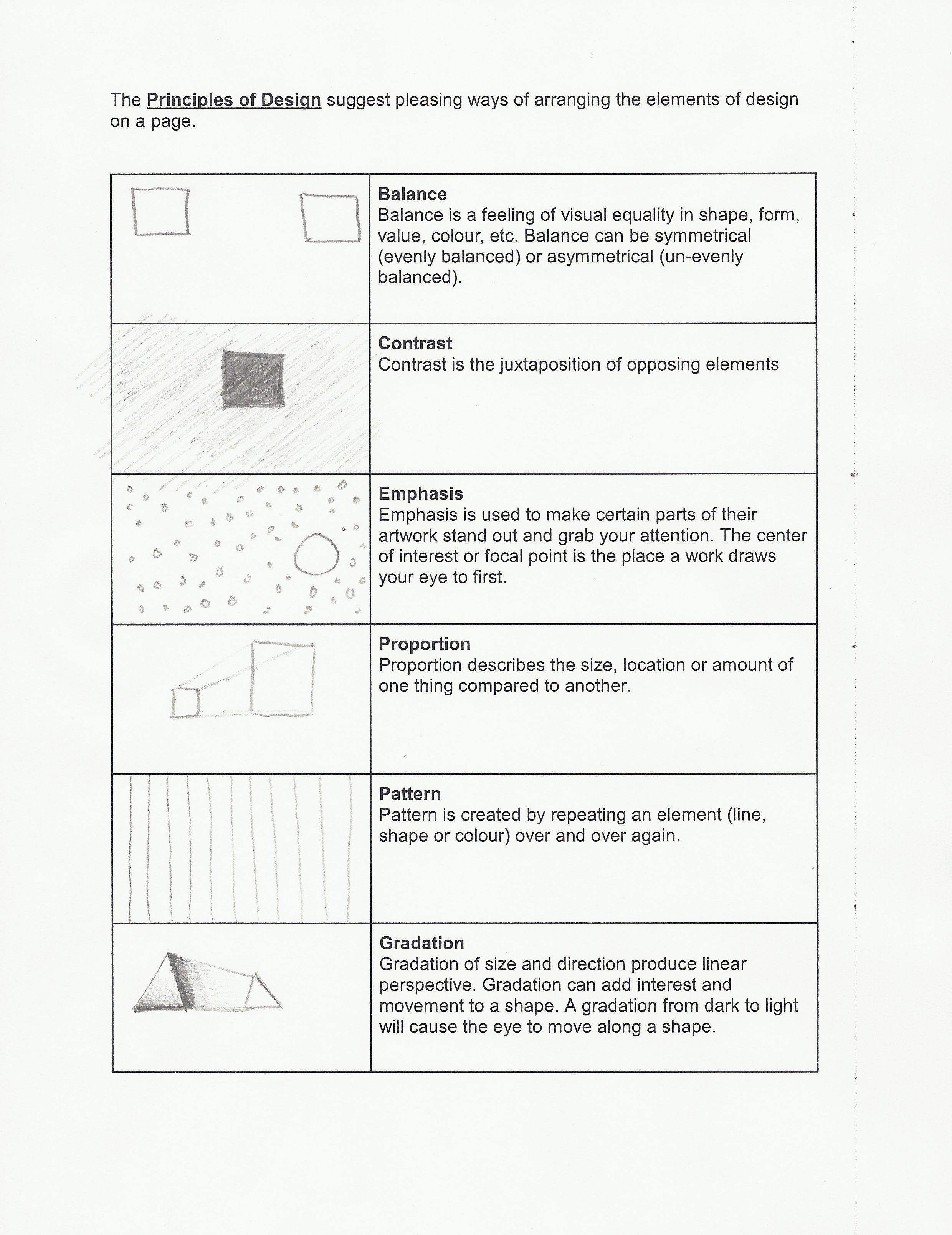 Art I Worksheets For Principles And Elements