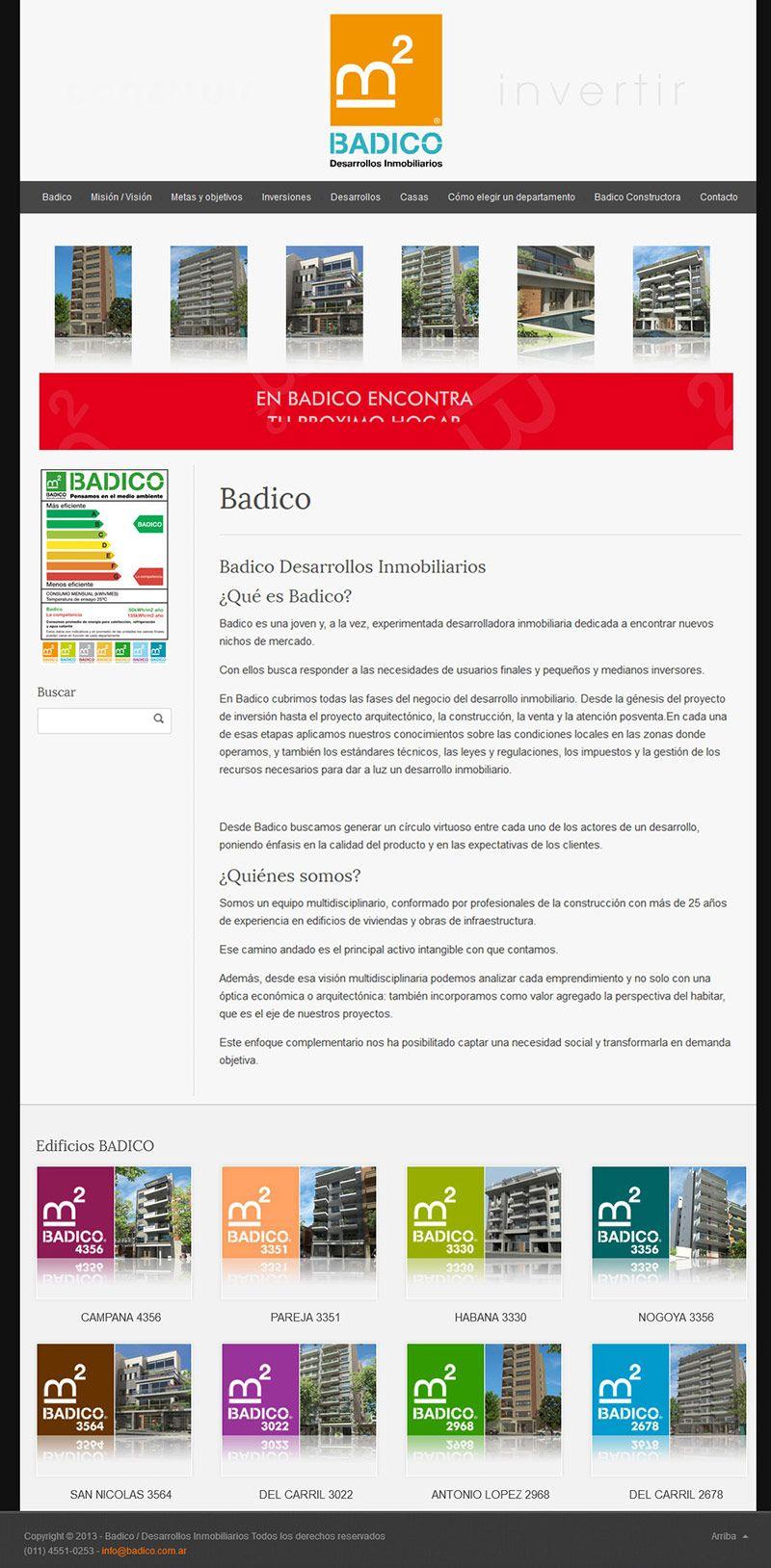Sitio web de Badico, desarrollos inmobiliarios - Diseño y Desarrollo: http://integralmedia.com.ar
