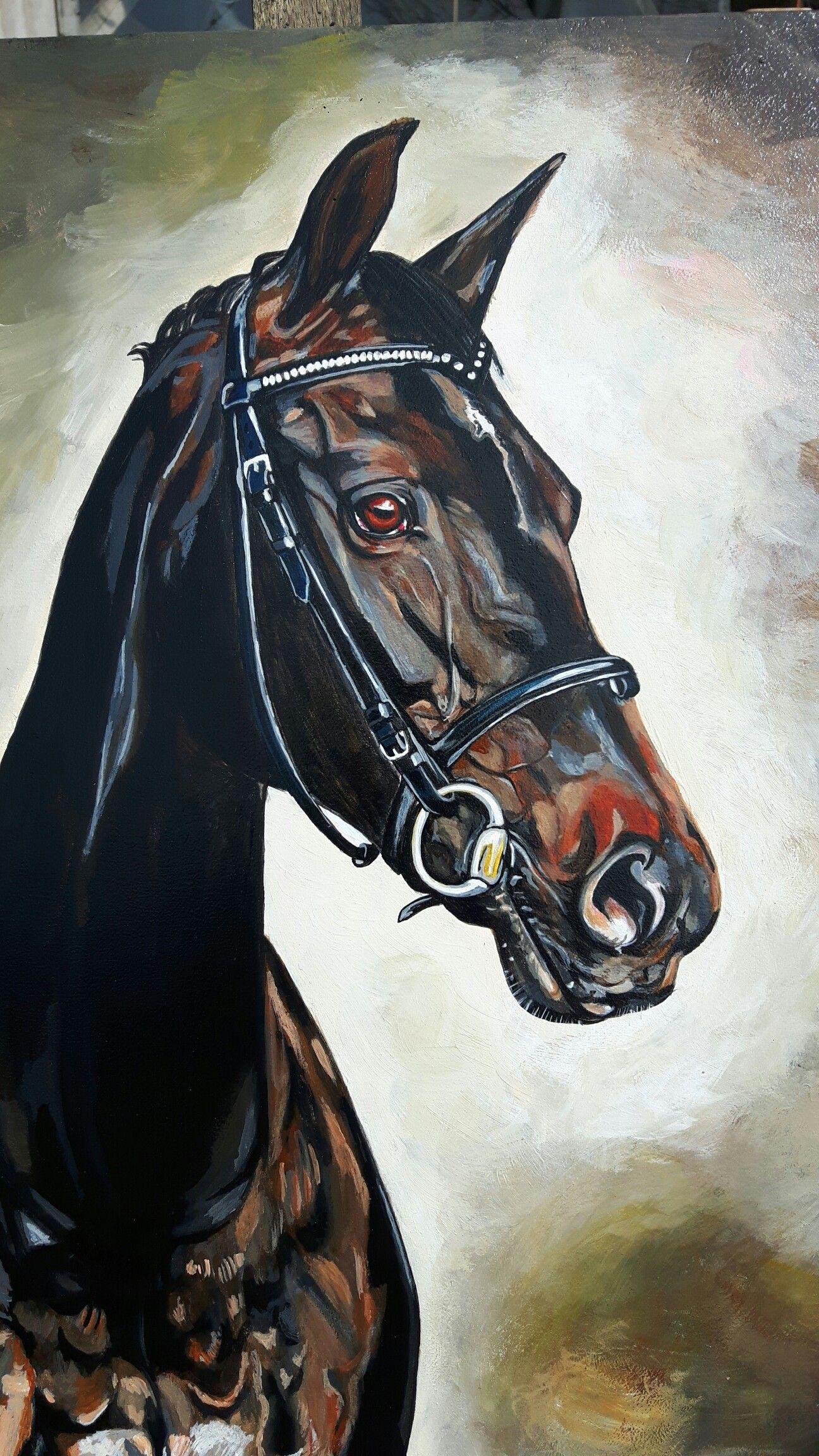 Super schilderij van je paard ,Horse painting ,acryl op hout schilderij UO-01
