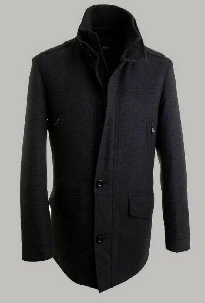 Hugo Boss Men's Black Wool Cossam Military PeaCoat/Jacket ...