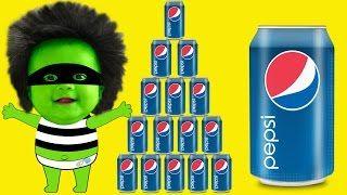 Amazing Pepsi Challenge with Frozen Elsa, Baby Hulk, Spiderbaby Superhero Kids! - YouTube