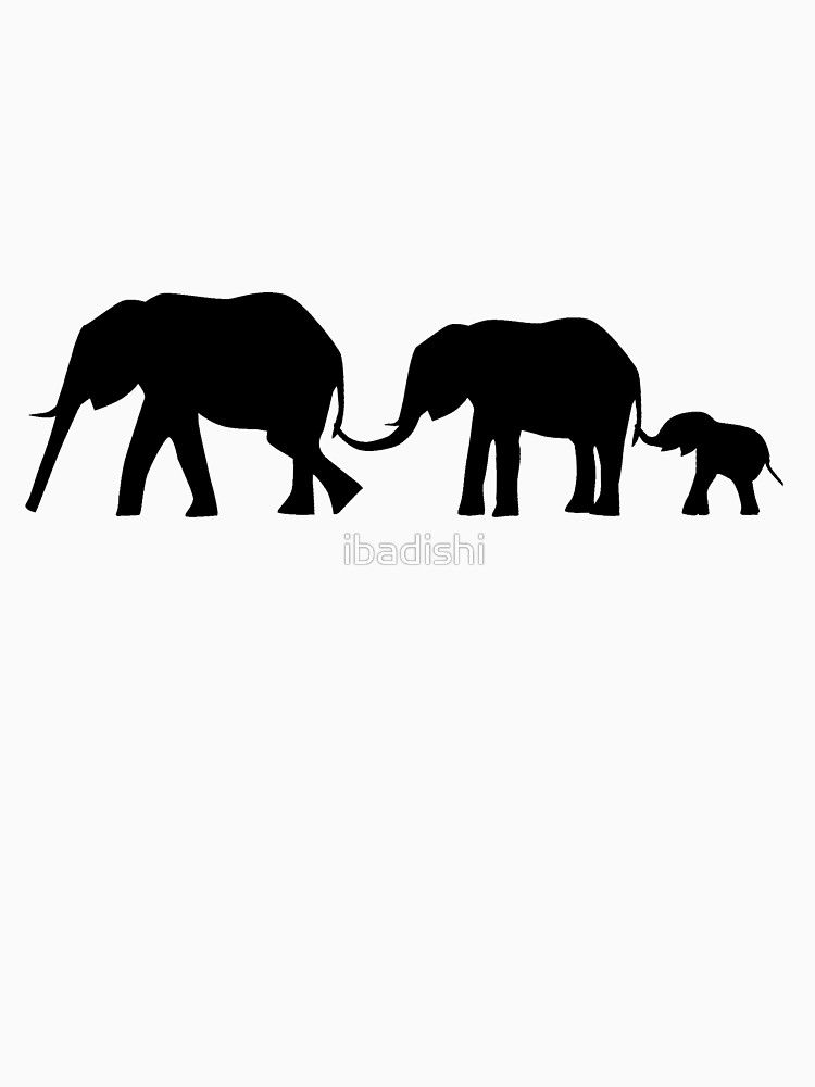 Silhouettes Of 3 Elephants Holding Tails Slim Fit T