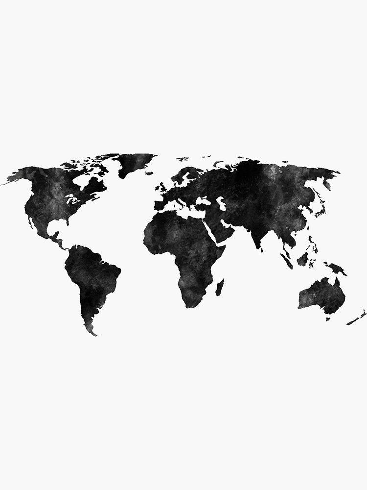 Pegatina 'Mapa acuarela blanco y negro' de Leah Biernacki