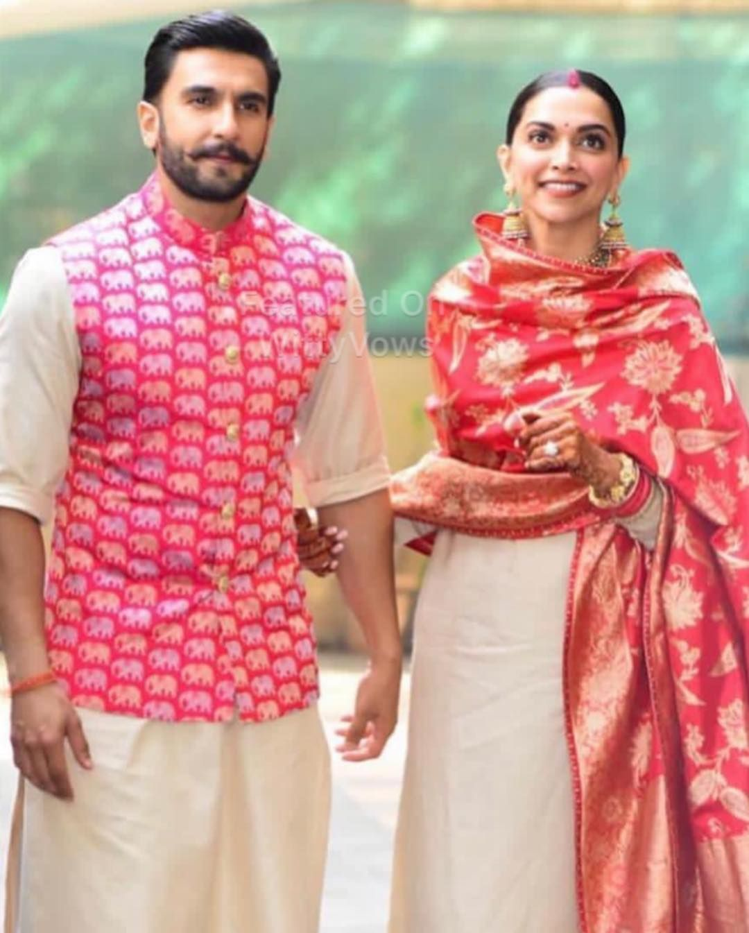 Deepika Padukone And Ranveer Singh Wedding Deepveer Wedding Bride And Groom In Sabyasachi Mukh Groom Dress Men Wedding Dresses Men Indian Indian Groom Wear [ 1345 x 1080 Pixel ]