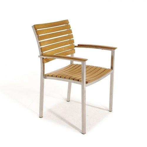 Teak Armchair With Horizontal Slats Set Of 2