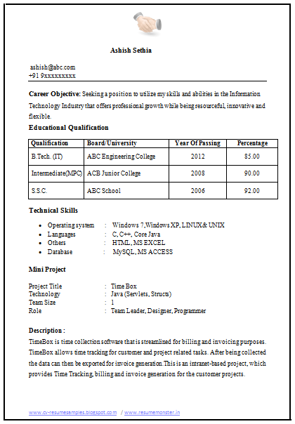 Sample Template For Freshers For Building Up Their First Resume
