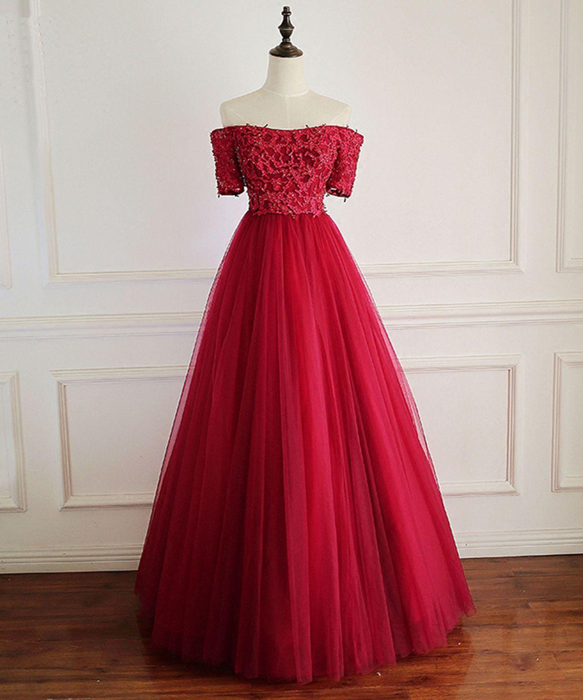 ef50f27ea313 Burgundy lace off shoulder short sleeve long formal prom dress ...