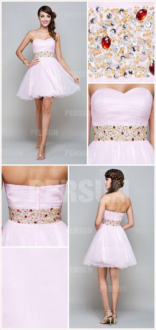 Simple bridesmaid pink tone short sleeveless empire sweet dress