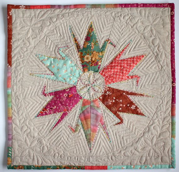 6 Fabric Paper Cranes