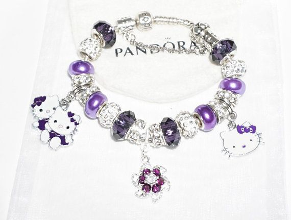 Purple Passion Kitty Authentic Jared Pandora bracelet Authentic