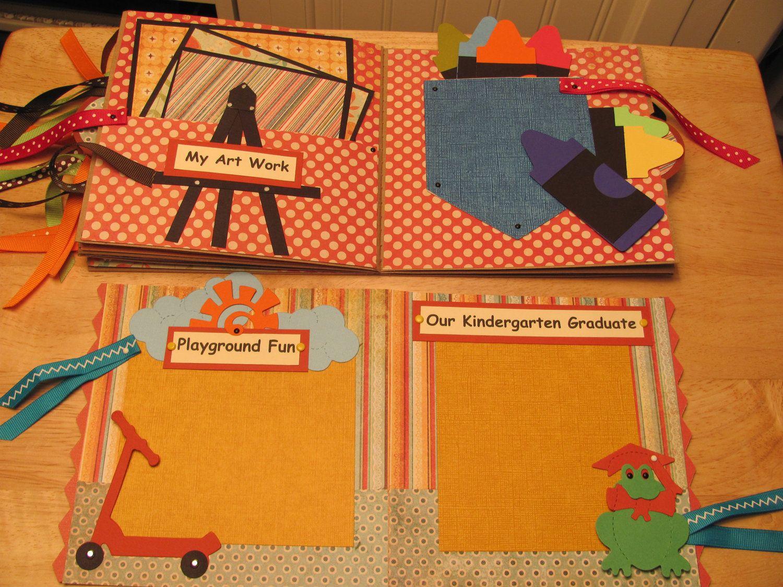 Scrapbook paper booklet - Kindergarten Scrapbook Paper Bag Album Brag Book By Topangadacat