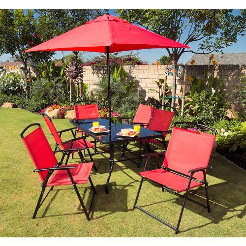 Outdoor Patio Furniture Miami: Miami 8-Piece Folding Sling Patio Dining Set With Umbrella