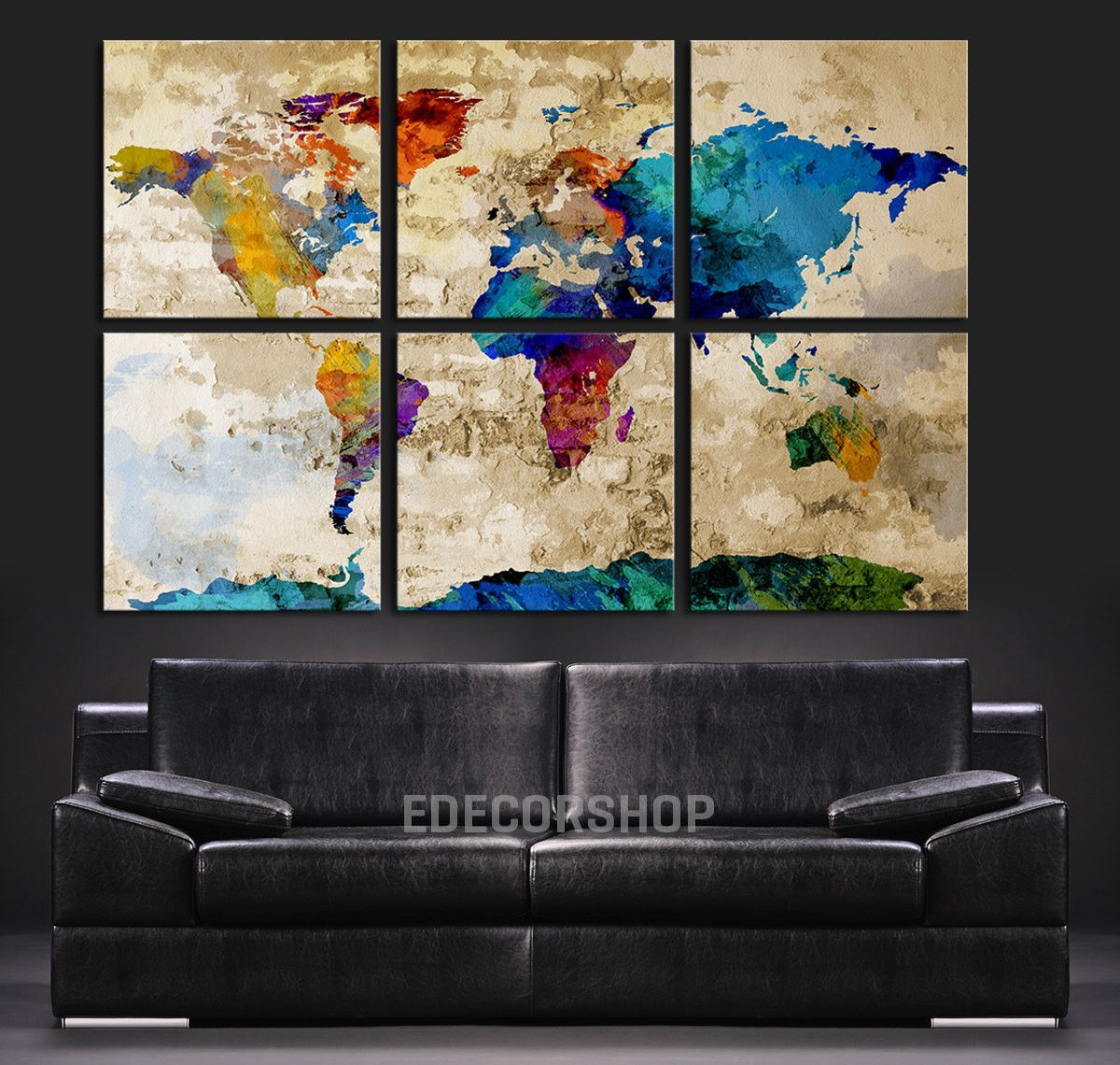 Colorful WORLD MAP Art Canvas Print - Watercolor World Map 6 Piece Canvas  Art Print -
