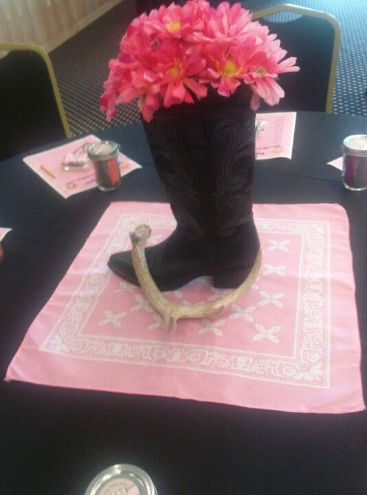 My Cowgirl Baby Shower Centerpiece Real Cowboy Boot Dollar