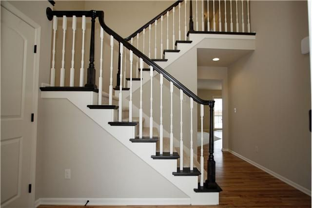 Pin By Christy Smreker Sweeney On My New House White Staircase | Black Banister White Spindles | Black Railing | Funky | Victorian | Iron Spindle White Catwalk Brown Railing | White Mahogany Hand Rail Oak