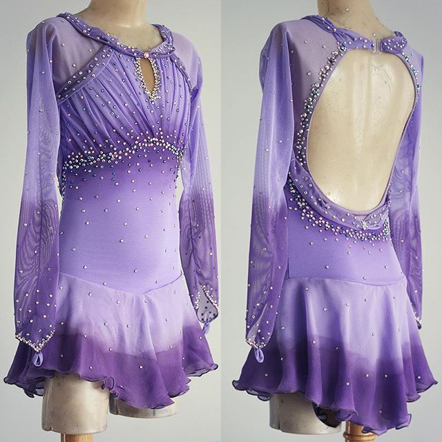 d4be127d8247a8 Lilac figure skating dress airbrushed to eggplant purple. | Figure ...
