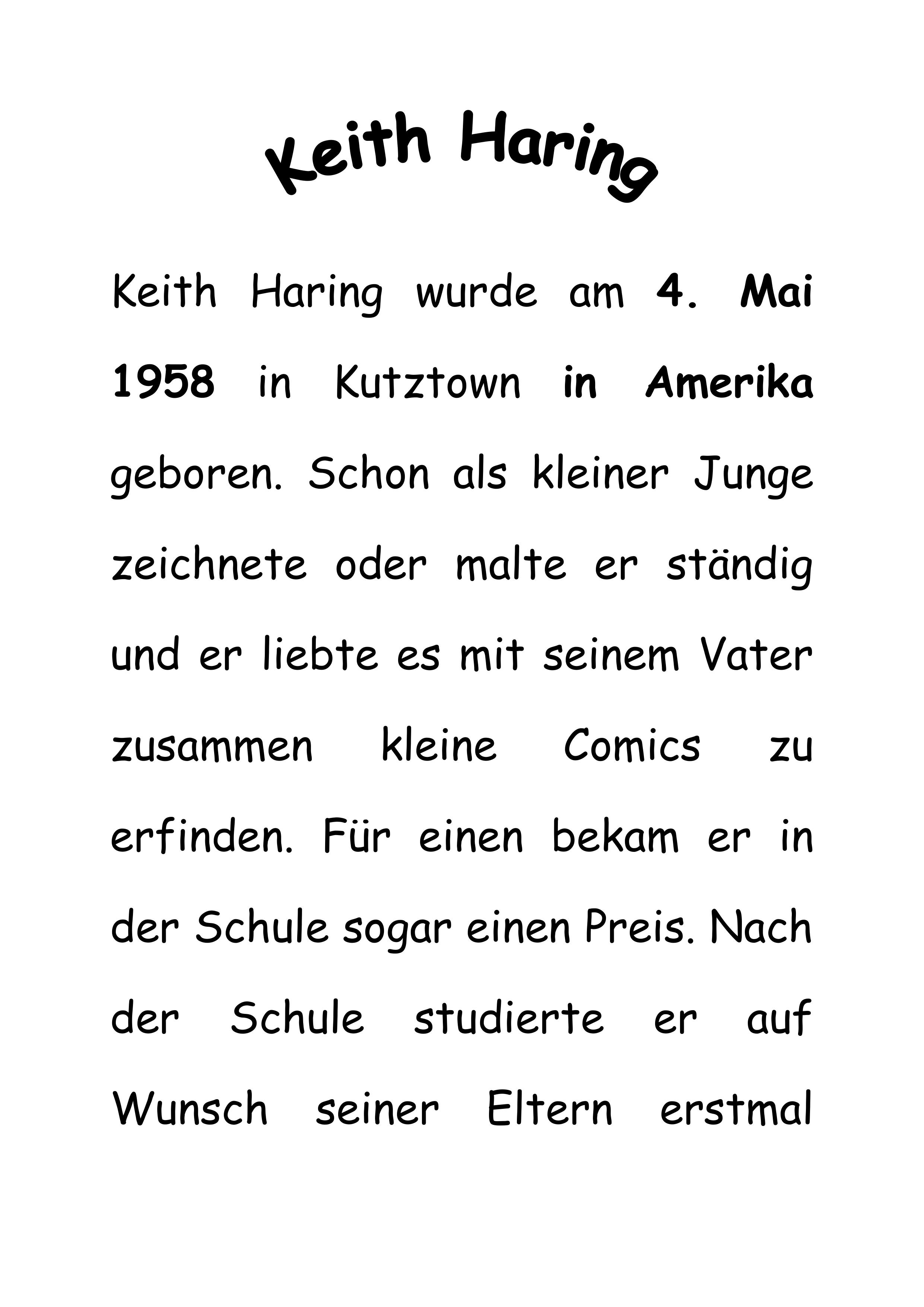 Kurze Informationstexte Ueber Keith Haring Unterrichtsmaterial Im Fach Kunst Keith Haring Kunstunterricht Keith