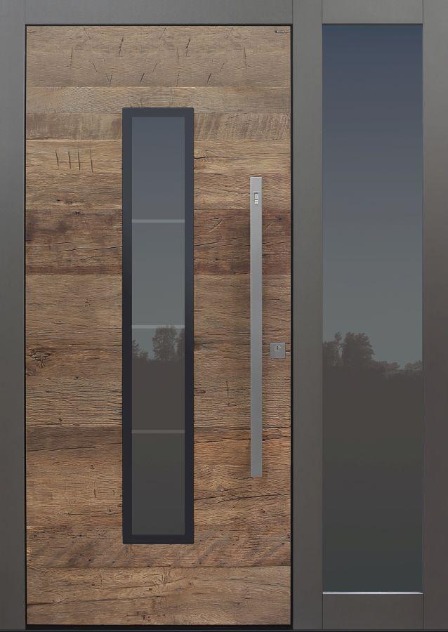 Haustür modern, Holz, Altholz, Eiche, Seitenteil, Sicherheitstür, passivhaustauglich, besser als alu, Glas #victorianfrontdoors