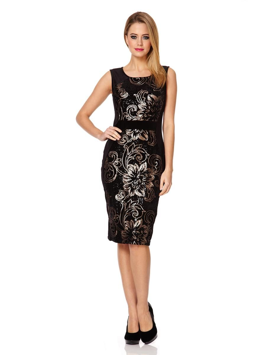 1b13a561dff Black Velvet Floral Sequin Dress - Quiz Clothing