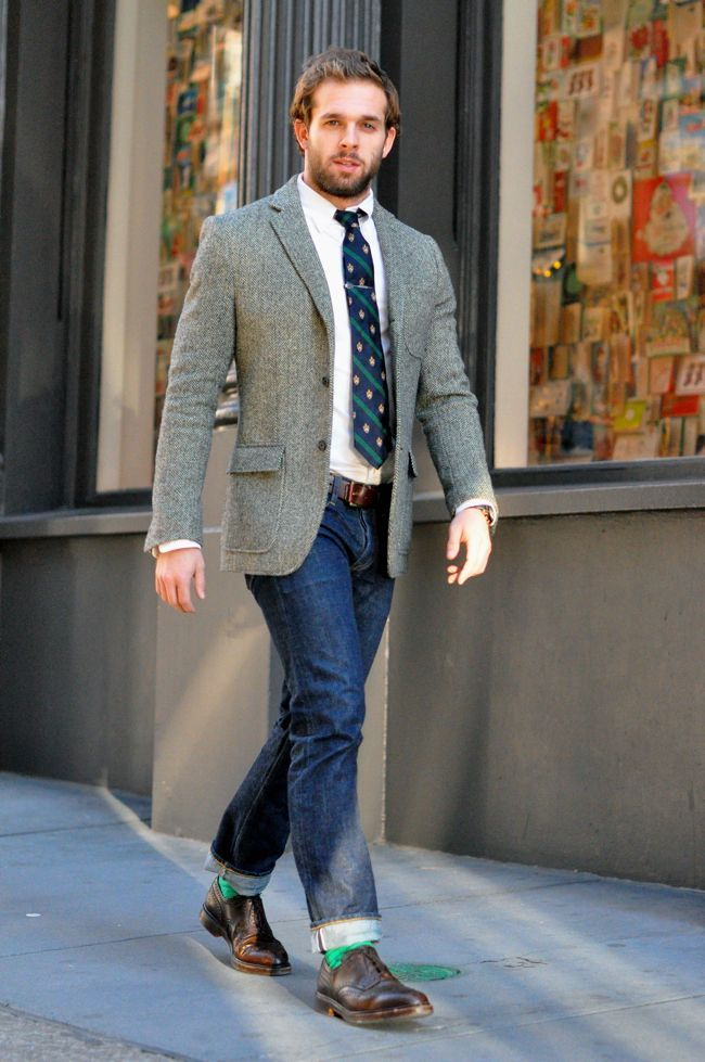 Men's Grey Wool Blazer, White Dress Shirt, Navy Jeans, Brown ...