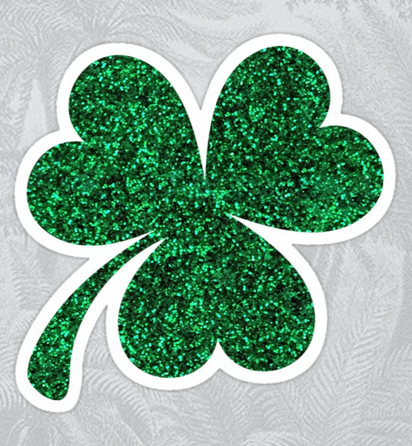 Green Glitter Shamrock Stickers Three Leaf Clover Printed Image