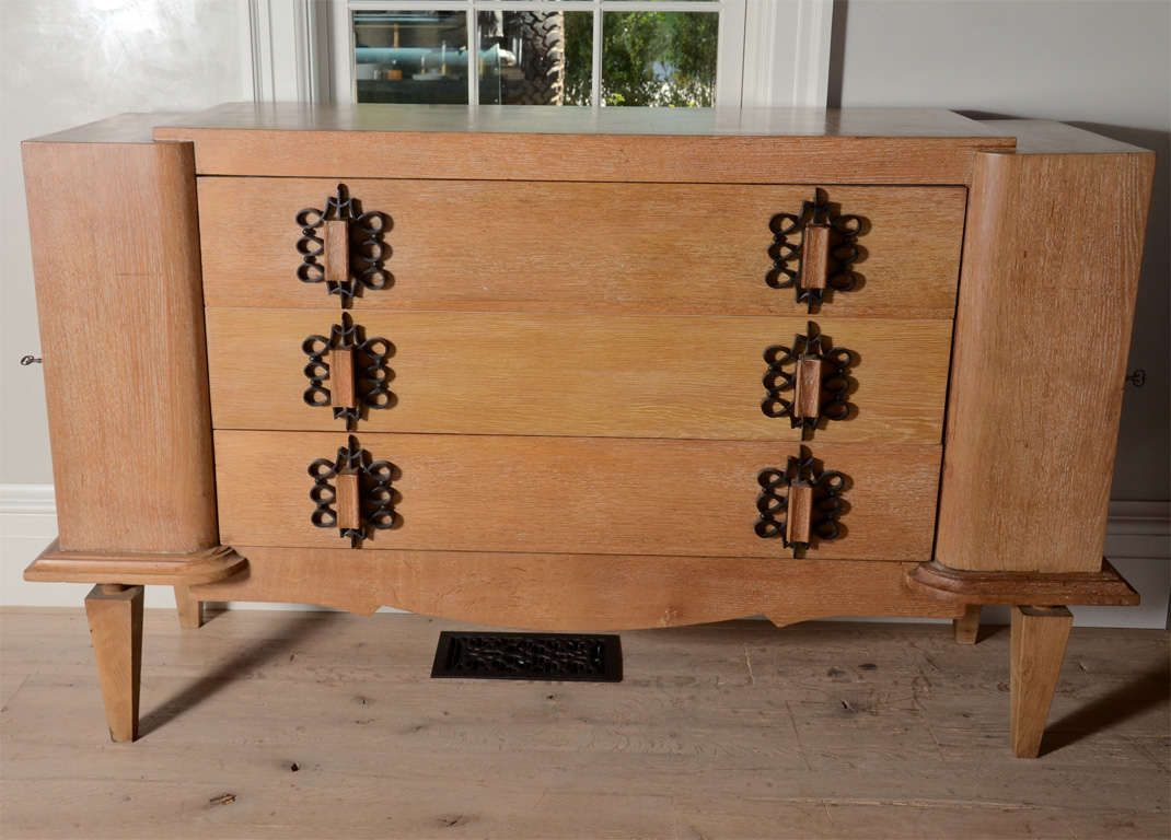 French Art Deco 1940 S Commode In Oak Ceruse 2 Decoration Style Bohemien Decoration Style Bohemien