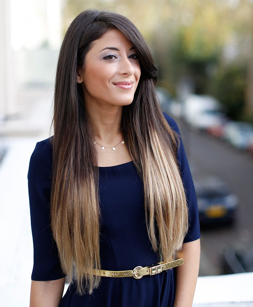 Black hair with blonde ends - Ombre Blonde T218 20 160g