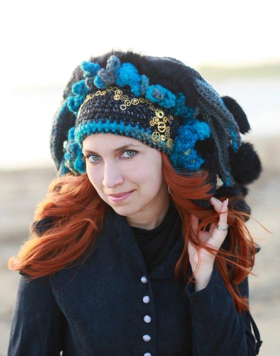 324fff616 Black blue crochet hat steampunk headdress winter beanie cosplay ...