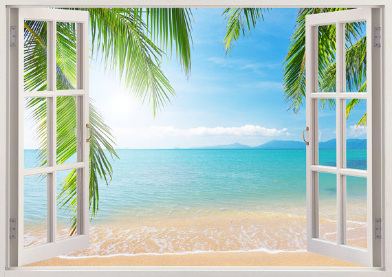 beach wall decal 3d window tropical coast wall decal for living room and bedroom coast wall. Black Bedroom Furniture Sets. Home Design Ideas