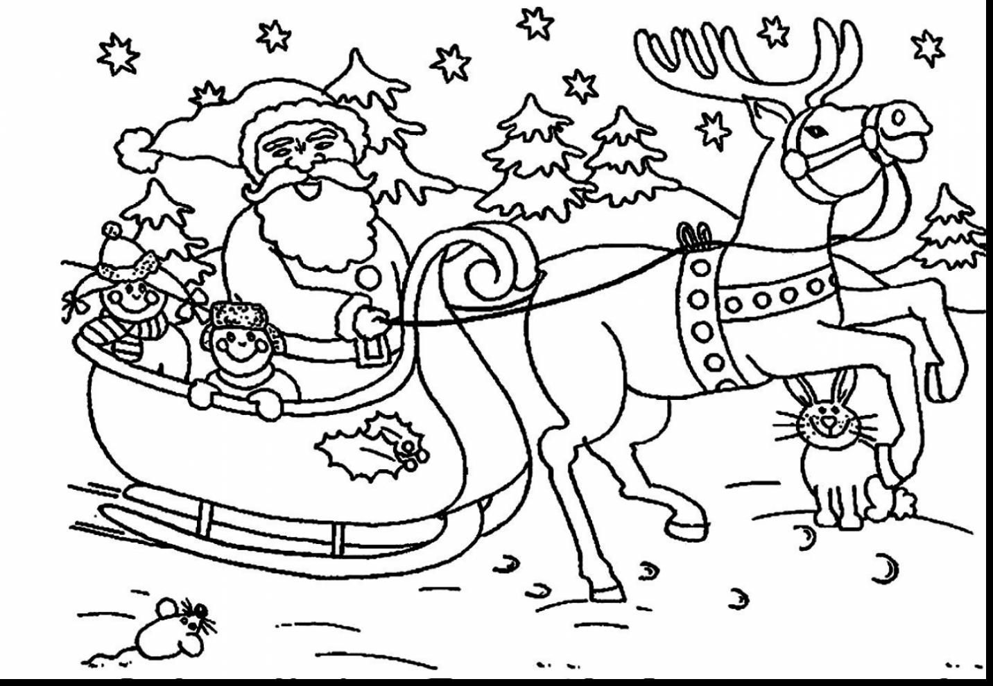 Extraordinary Christmas Santa Sleigh Coloring Pages With