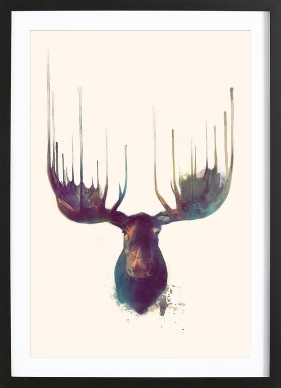 Moose en Tirage d'art premium encadré