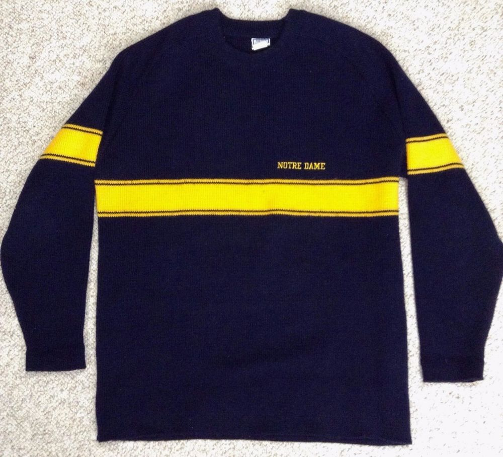 vtg NOTRE DAME FIGHTING IRISH KNIT SWEATER Navy-Blue/Yellow Heavy ...
