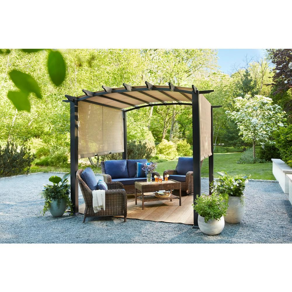 Hampton Bay 10 Ft X 10 Ft Steel And Aluminum Arched Pergola With Slide Canopy Outdoor Pergola Pergola Patio Pergola