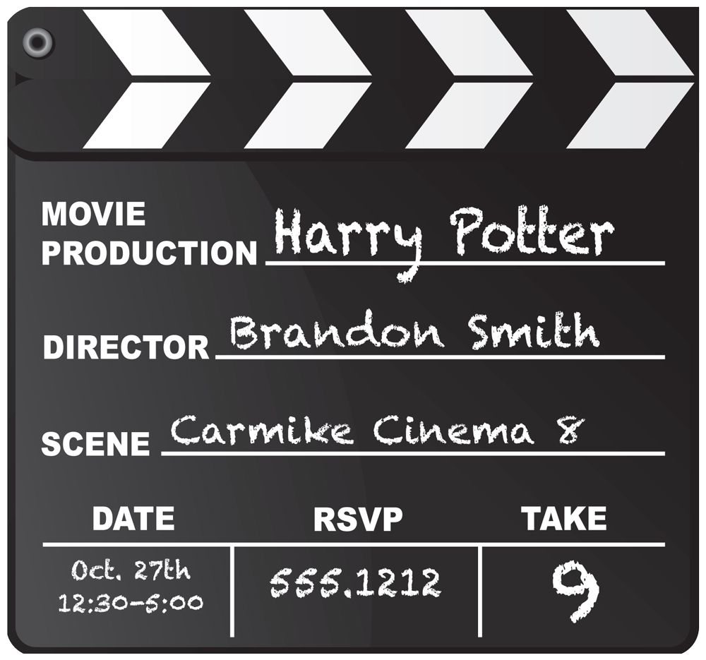 Clever movie birthday invitation. Would be good for a Hollywood ...