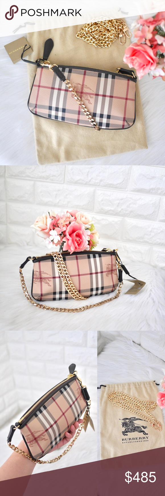 684a5f944283 💖NWT Burberry Haymarket Clara Wristlet 🌿BRAND NEW WITH TAG. ✓️Comes with  Burberry