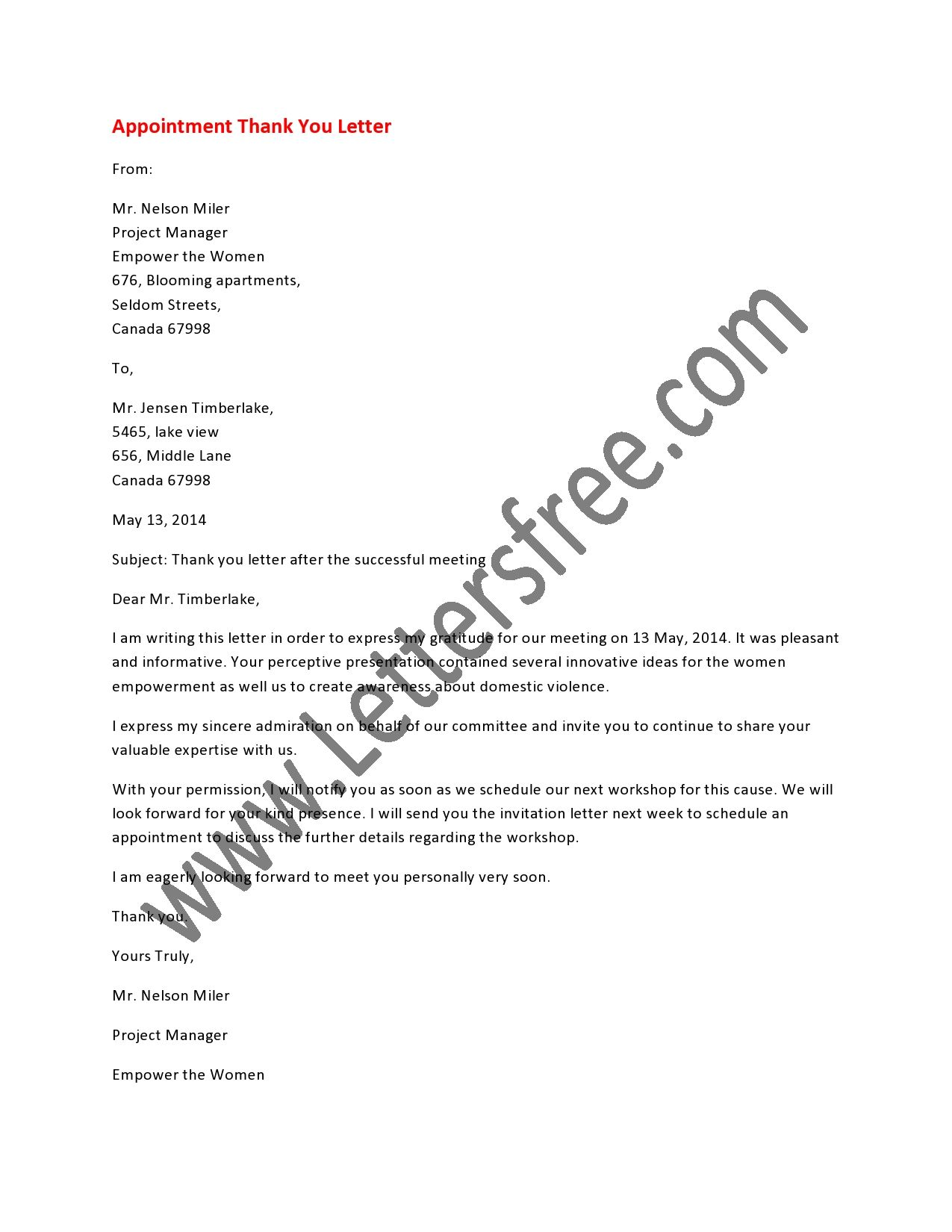 Appointment Thank You Letter  Appointments Letter Sample And