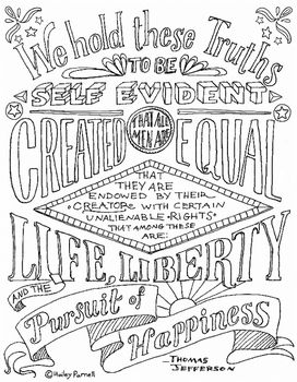 Declaration of Independence Coloring Page- Hand Lettered